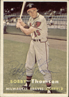 BOBBY THOMSON - TRADING/SPORTS CARD SIGNED CIRCA 1957