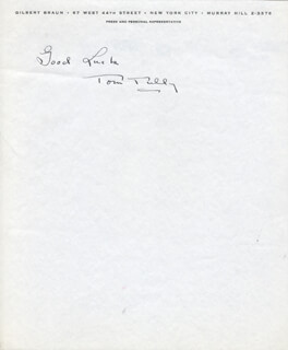 TOM TULLY - AUTOGRAPH SENTIMENT SIGNED