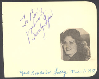 BEVERLY TYLER - AUTOGRAPH NOTE SIGNED CIRCA 1951