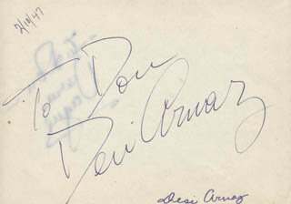 DESI ARNAZ SR. - INSCRIBED SIGNATURE CIRCA 1947 CO-SIGNED BY: BARBARA JO VERA VAGUE ALLEN