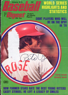 PETE ROSE - MAGAZINE COVER SIGNED  - HFSID 2196