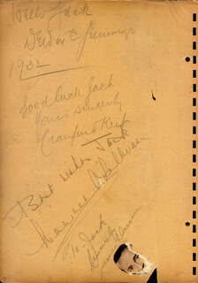 Autographs: MAUREEN O'SULLIVAN - AUTOGRAPH NOTE SIGNED 1932 CO-SIGNED BY: LUPE THE MEXICAN SPITFIRE VELEZ, NORMAN FOSTER, DEWITT C. JENNINGS, CRAUFORD KENT, HELEN KANE, JAMES DUNN