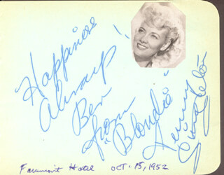 PENNY SINGLETON - AUTOGRAPH NOTE SIGNED CIRCA 1952