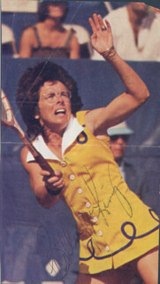 BILLIE JEAN KING - MAGAZINE PHOTOGRAPH SIGNED