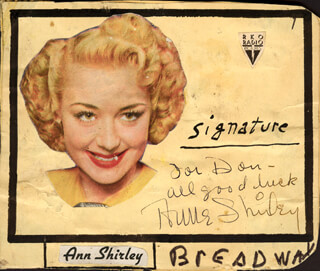 ANNE SHIRLEY - AUTOGRAPH NOTE SIGNED