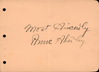 ANNE SHIRLEY - AUTOGRAPH SENTIMENT SIGNED CIRCA 1938