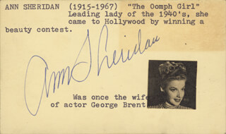 ANN THE OOMPH GIRL SHERIDAN - PRINTED CARD SIGNED IN INK CIRCA 1952