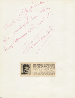 HELEN TRAUBEL - AUTOGRAPH NOTE SIGNED CO-SIGNED BY: ROBERTA LINN