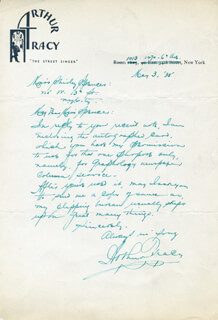 ARTHUR TRACY - AUTOGRAPH LETTER SIGNED 05/03/1935