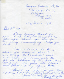 CHARLES TINGWELL - AUTOGRAPH LETTER SIGNED 12/18/1973