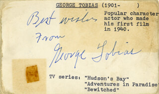 GEORGE TOBIAS - AUTOGRAPH SENTIMENT SIGNED CIRCA 1952