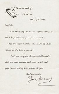 THREE STOOGES (JOE BESSER) - TYPED LETTER SIGNED 02/25/1980
