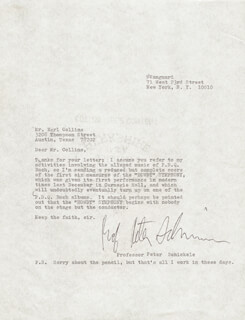 PETER P. D. Q. BACH SCHICKELE - TYPED LETTER SIGNED