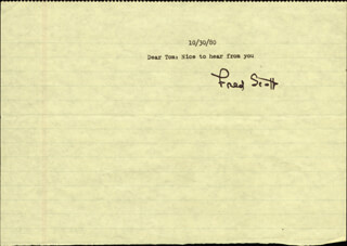 FRED L. THE SINGING BUCKAROO SCOTT - TYPED LETTER SIGNED 10/30/1980