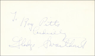 GLADYS SWARTHOUT - AUTOGRAPH NOTE SIGNED