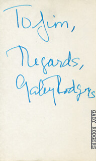 GABY RODGERS - AUTOGRAPH NOTE SIGNED