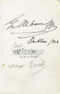 SIR CHARLES SANTLEY - AUTOGRAPH MUSICAL QUOTATION SIGNED 10/25/1905 CO-SIGNED BY: DAME EMMA ALBANI GYE
