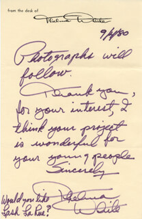 THELMA WHITE - AUTOGRAPH NOTE SIGNED 09/04/1980