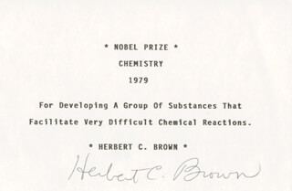 Autographs: HERBERT C. BROWN - TYPED CARD SIGNED