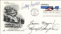 LOU MEYER - FIRST DAY COVER SIGNED CO-SIGNED BY: BOBBY UNSER, JOHNNY RUTHERFORD