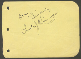 CHARLES J. WINNINGER - AUTOGRAPH SENTIMENT SIGNED CO-SIGNED BY: HAL SKELLY