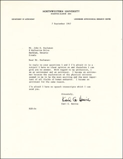 Autographs: KARL G. HENIZE - TYPED LETTER SIGNED 09/07/1967