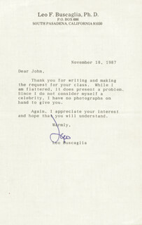 LEO DR. LOVE BUSCAGLIA - TYPED LETTER SIGNED 11/18/1987