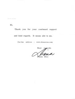 DIANA ROSS - TYPED NOTE SIGNED