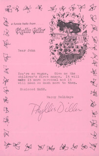 PHYLLIS DILLER - TYPED NOTE SIGNED