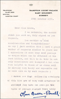 Autographs: OLAVE BADEN-POWELL - TYPED LETTER SIGNED 10/29/1971