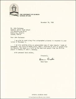 DEAN RUSK - TYPED LETTER SIGNED 11/18/1985