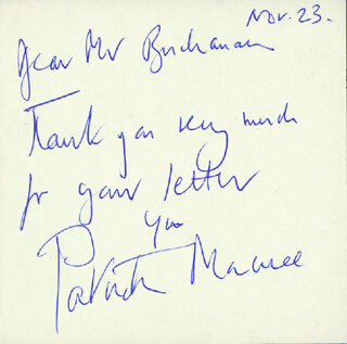 PATRICK MACNEE - AUTOGRAPH NOTE SIGNED 11/23