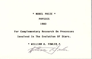 Autographs: WILLIAM A. FOWLER - TYPED CARD SIGNED