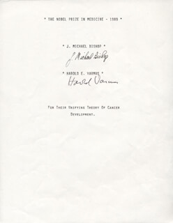 Autographs: HAROLD VARMUS - SIGNATURE(S) CO-SIGNED BY: J. MICHAEL BISHOP