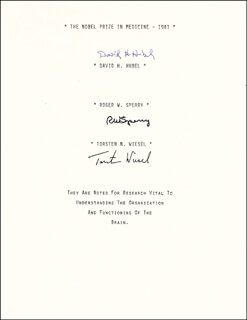 Autographs: DAVID H. HUBEL - SIGNATURE(S) CO-SIGNED BY: ROGER WOLCOTT SPERRY, TORSTEN N. WIESEL