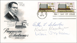 ARTHUR L. SCHAWLOW - FIRST DAY COVER SIGNED CO-SIGNED BY: KAI M. SIEGBAHN, NICOLAAS BLOEMBERGEN