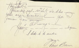 JANE WYMAN - AUTOGRAPH POEM SIGNED CO-SIGNED BY: MAY BARTLETT FAIRCHILD, PAUL BARON