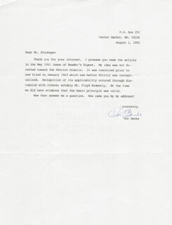DON BANKS - TYPED LETTER SIGNED 08/01/1992