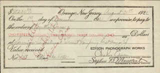 GOVERNOR CHARLES EDISON - PROMISSORY NOTE SIGNED 08/31/1921