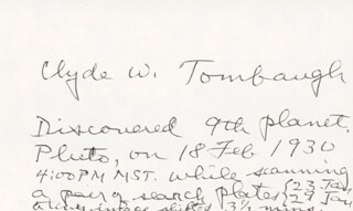 CLYDE WILLIAM TOMBAUGH - AUTOGRAPH