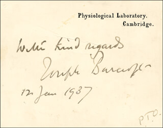 Autographs: SIR JOSEPH BARCROFT - PRINTED CARD SIGNED IN INK 01/12/1937