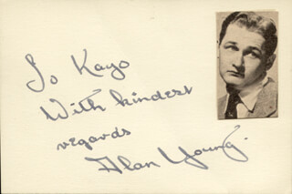 ALAN YOUNG - AUTOGRAPH NOTE SIGNED