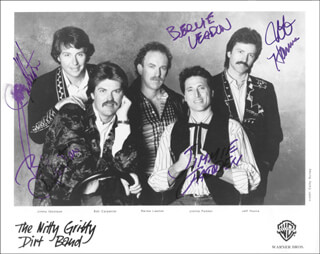 NITTY GRITTY DIRT BAND - PRINTED PHOTOGRAPH SIGNED IN INK CO-SIGNED BY: NITTY GRITTY DIRT BAND (JIMMIE FADDEN), NITTY GRITTY DIRT BAND (JEFF HANNA), NITTY GRITTY DIRT BAND (JIMMY IBBOTSON), NITTY GRITTY DIRT BAND (BOB CARPENTER), NITTY GRITTY DIRT BAND (B. LEADON)