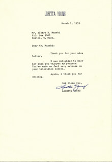 LORETTA YOUNG - TYPED LETTER SIGNED 03/01/1959