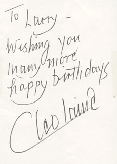 CLEO LAINE - AUTOGRAPH NOTE SIGNED