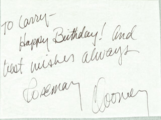 ROSEMARY CLOONEY - AUTOGRAPH NOTE SIGNED