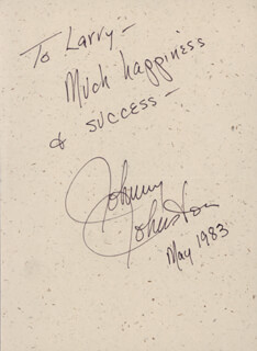 JOHNNY JOHNSTON - AUTOGRAPH NOTE SIGNED 5/1983