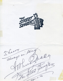 ARTHUR TRACY - AUTOGRAPH NOTE SIGNED 04/02/1980