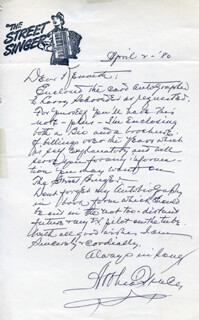 ARTHUR TRACY - AUTOGRAPH LETTER SIGNED 04/02/1980