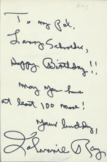 JOHNNIE RAY - AUTOGRAPH NOTE SIGNED